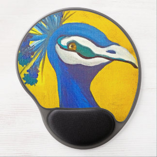 Turquoise and Yellow Peacock Gel Mouse Mat