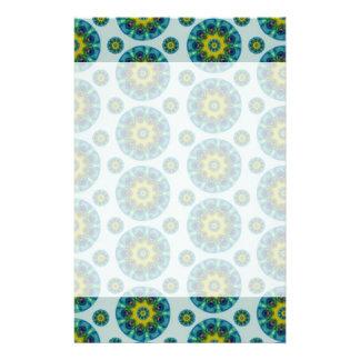 Turquoise and Yellow Retro Mandala Pattern Stationery