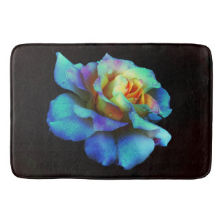 Turquoise and Yellow Tie-Dyed Rose Bath Mat