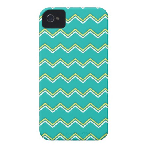 Turquoise and Yellow zigzag Chevron iPhone 4 Covers