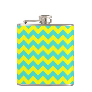 Turquoise and Yellow Zigzag Hip Flask