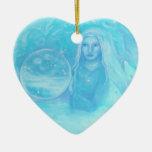 Turquoise Angel w Twin Babies Christmas Ornament