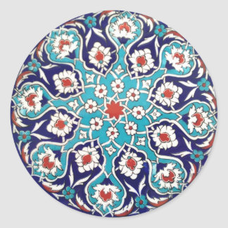 Turquoise Antique Floral Mosaic Tile Classic Round Sticker