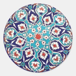 Turquoise Antique Floral Mosaic Tile Round Sticker