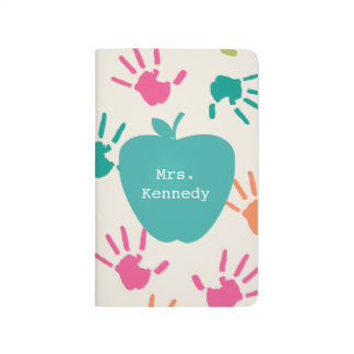 Turquoise Apple Colorful Handprints Teacher Journal