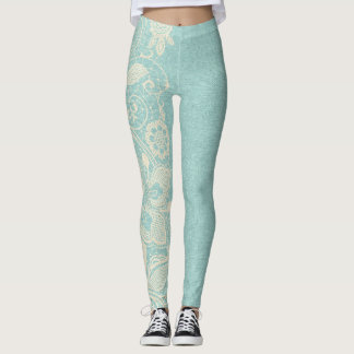 Turquoise Aqua and Floral Lace Leggings
