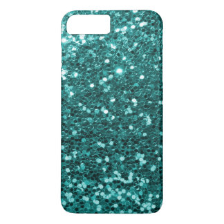 Turquoise Aqua Blue Faux Glitter Sparkle Print iPhone 8 Plus/7 Plus Case