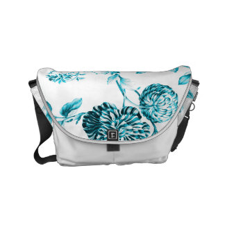 Turquoise Aqua Blue & White Modern Floral Toile Commuter Bags