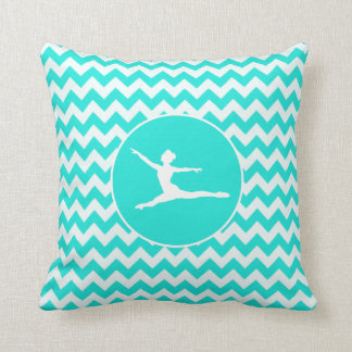 Turquoise, Aqua Color Chevron; Ballet Cushion