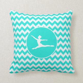 Turquoise, Aqua Color Chevron; Ballet Cushion