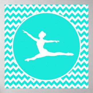 Turquoise, Aqua Color Chevron; Ballet Poster