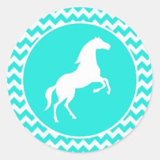 Turquoise, Aqua Color Chevron; Equestrian Classic Round Sticker