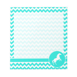 Turquoise, Aqua Color Chevron; Equestrian Notepad