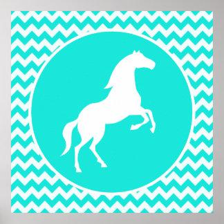Turquoise, Aqua Color Chevron; Equestrian Poster