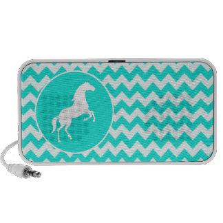 Turquoise, Aqua Color Chevron; Equestrian iPod Speaker