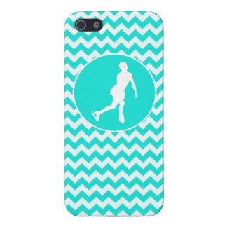 Turquoise, Aqua Color Chevron; Figure Skating iPhone 5 Case