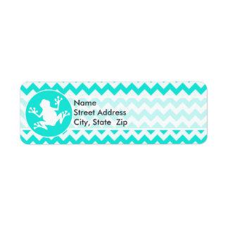 Turquoise, Aqua Color Chevron; Frog Return Address Label