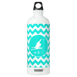 Turquoise, Aqua Color Chevron; Snow Ski SIGG Traveller 1.0L Water Bottle