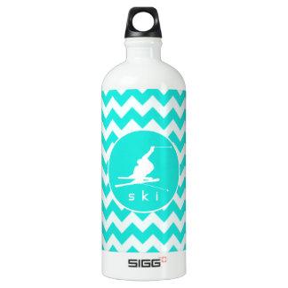 Turquoise, Aqua Color Chevron; Snow Ski Water Bottle