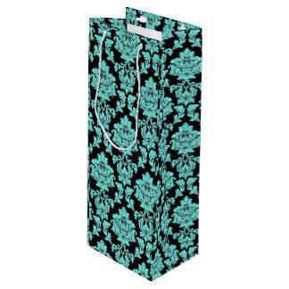 Turquoise aqua glitter black vintage floral damask wine gift bag