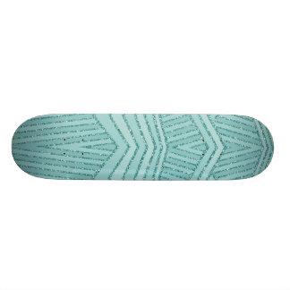 Turquoise Aqua Glitter Stripe Geometric SkateBoard