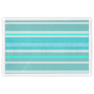 Turquoise Aqua Linen Look Striped Design Acrylic Tray