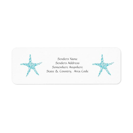 Turquoise Aqua Starfish Small Address Labels