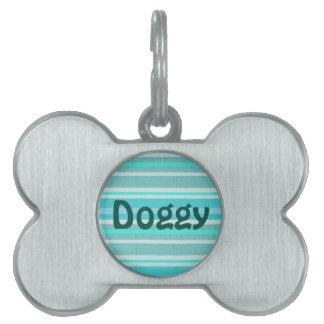 Turquoise Aqua Stripe Pattern Doggy Name Tag