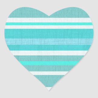 Turquoise Aqua Stripe Pattern Heart Sticker