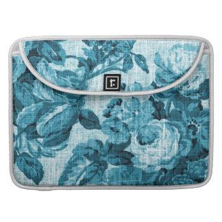 Turquoise Aqua Vintage Floral Toile No.5 Sleeve For MacBooks