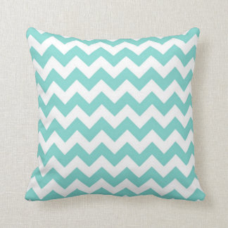 Turquoise Aqua White Chevron Zig Zag Pattern Cushion
