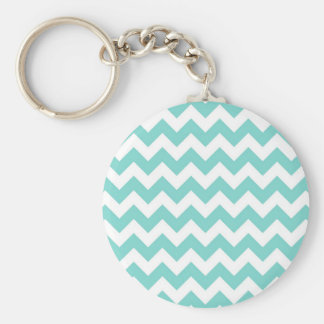 Turquoise Aqua White Chevron Zig Zag Pattern Key Ring