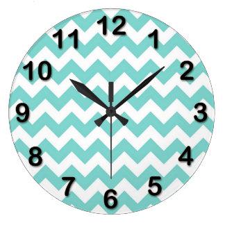 Turquoise Aqua White Chevron Zig Zag Pattern Large Clock