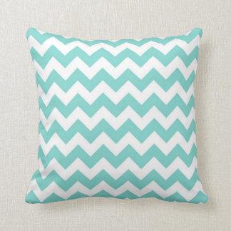 Turquoise Aqua White Chevron Zig Zag Pattern Throw Pillow