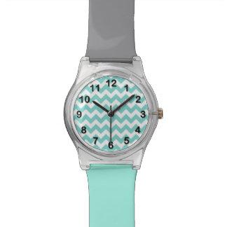 Turquoise Aqua White Chevron Zig Zag Pattern Watch