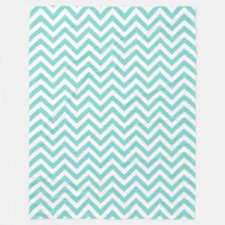 Turquoise Aqua White Large Chevron ZigZag Pattern Fleece Blanket