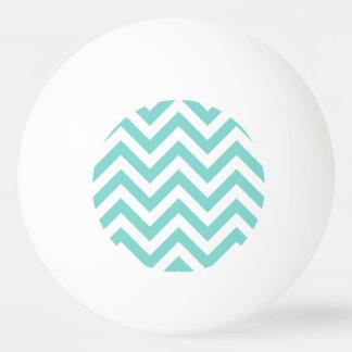 Turquoise Aqua White Large Chevron ZigZag Pattern Ping Pong Ball
