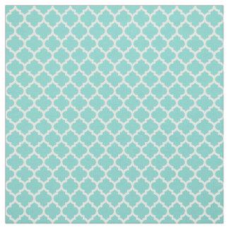 Turquoise Aqua, White Moroccan Quatrefoil #5 Sz3 Fabric
