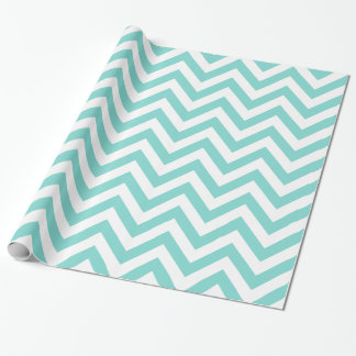 Turquoise Aqua White XL Chevron ZigZag Pattern Wrapping Paper