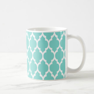 Turquoise Aqua Wht Moroccan Quatrefoil Pattern #4 Coffee Mug