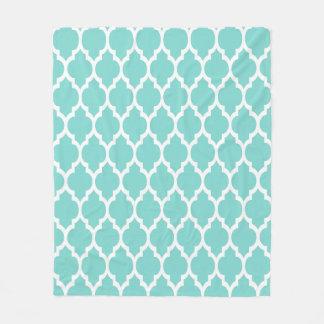 Turquoise Aqua Wht Moroccan Quatrefoil Pattern #4 Fleece Blanket