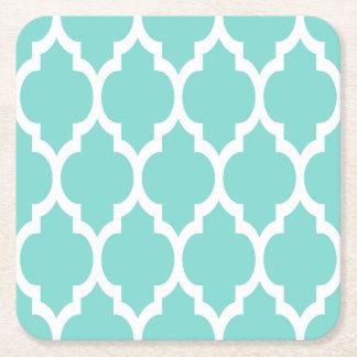 Turquoise Aqua Wht Moroccan Quatrefoil Pattern #4 Square Paper Coaster