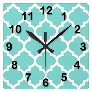 Turquoise Aqua Wht Moroccan Quatrefoil Pattern #5 Square Wall Clock