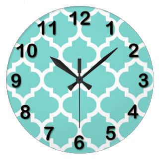 Turquoise Aqua Wht Moroccan Quatrefoil Pattern #5 Wall Clock