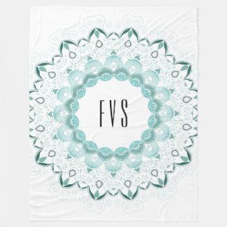 Turquoise Art Deco Design Fleece Blanket