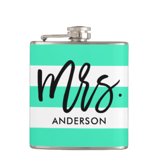 Turquoise Awning Stripes and Typography Hip Flask