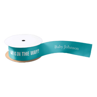 Turquoise Baby on the Way Personalized Ribbon Satin Ribbon