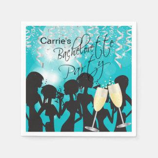 Turquoise Bachelorette Party Paper Serviettes