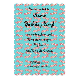 Turquoise bacon pattern custom invites