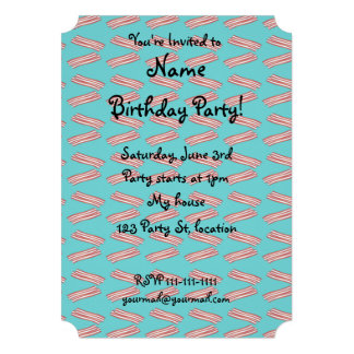 Turquoise bacon pattern personalized announcement